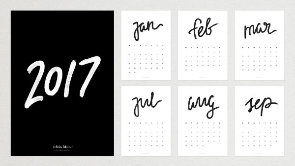 2017 Typography Calendar