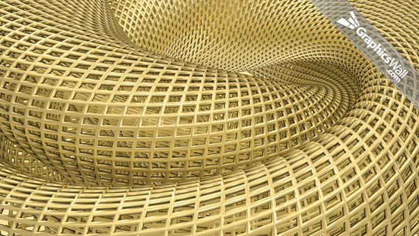 3D Golden Wireframe Structure