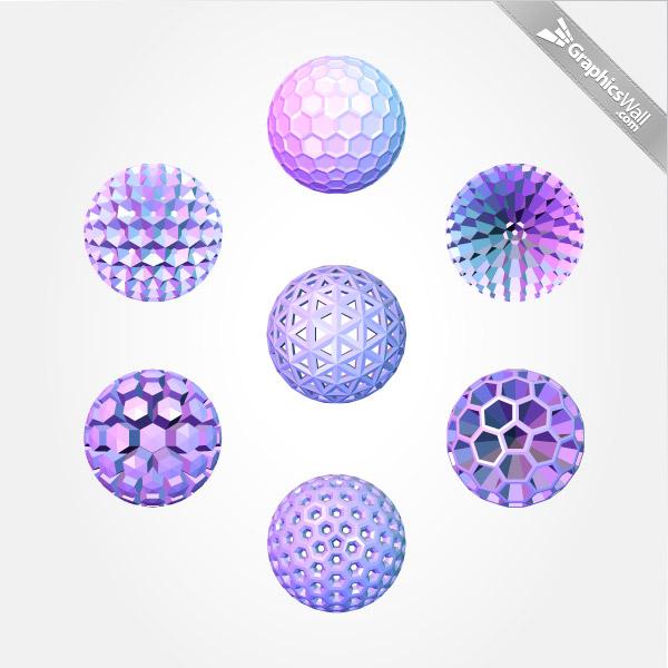 3D Polygonal Sphere Vector Set
