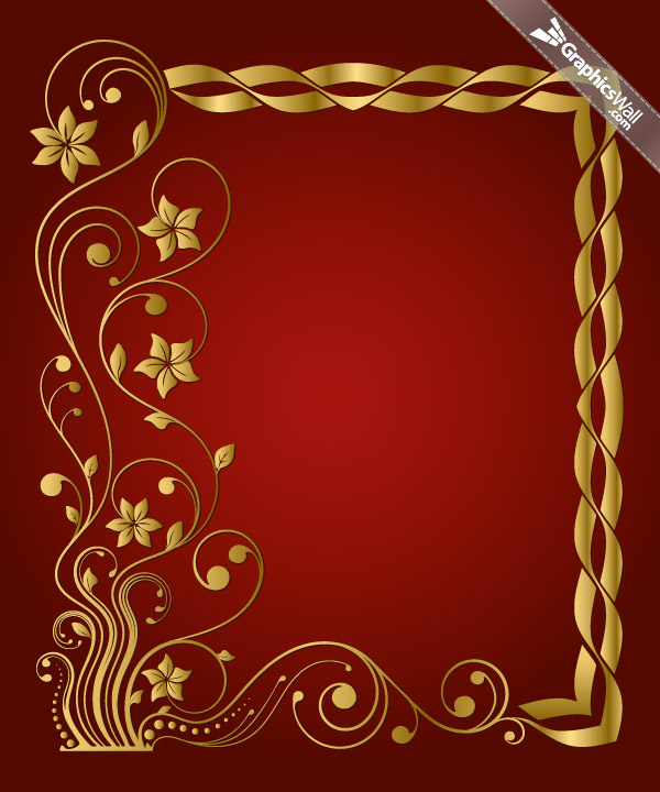 Golden Floral Vector Frame