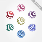 7 Free Spiral Vector Spheres - Set 08