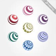 7 Free Spiral Vector Spheres - Set 08